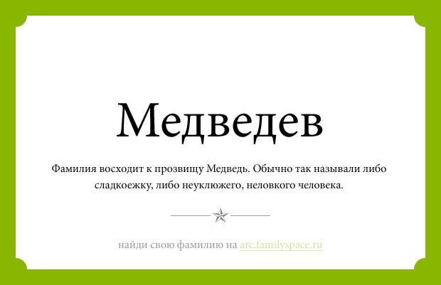 Значение фамилии Медведев