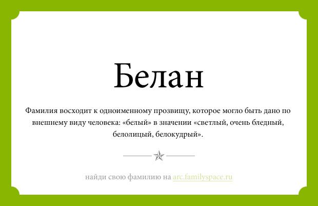 Фамилия Белан значение фамилии Белан анализ фамилии Белан Значение фамилии Белан